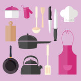 Kulinarnej ikony ustalony przedmiot w różowej kuchennej szefa kuchni fartucha kapeluszowej niecki garnka nożowym rozwidleniu Fotografia Stock