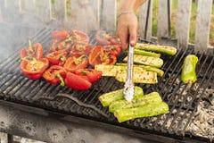 Kulinarni świezi warzywa na otwierali ogień zdjęcie stock