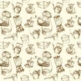 Kulinarni naczynia, bezszwowa kitchenware tapeta Fotografia Stock