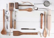 Kulinarni naczynia Z kopii przestrzenią Zdjęcia Royalty Free