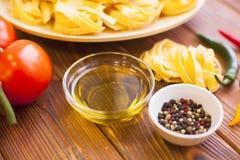 Kulinarni składniki na drewnianym stole Obraz Royalty Free
