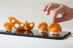 Kulinarny emmental melon Fotografia Stock