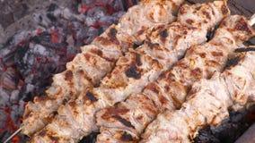 Kulinarny kebab na węglach Piec na grillu wieprzowina na skewers Materiał filmowy klamerka 4K, UHG HD, Ultra zdjęcie wideo