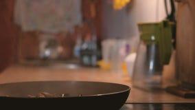 Kulinarny mięsny jedzenie na niecce zbiory wideo