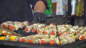 Kulinarny mięso na węgla drzewnego grillu Kurczaka mięsa kawałki gotuje zbiory