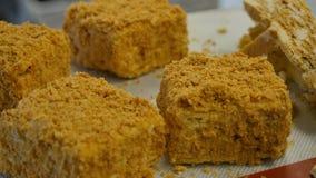 Kulinarny miodowy tort Kobieta wręcza kulinarnego miodowego tort z dokrętkami fotografia royalty free