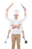 Kulinarny pojęcie - młody człowiek w szefa kuchni mundurze z 6 ręk trzymać Zdjęcia Stock