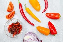 Kulinarny pojęcie - set zdrowi produkty zdjęcie royalty free