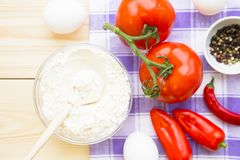 Kulinarny pojęcie - set zdrowi produkty obraz royalty free