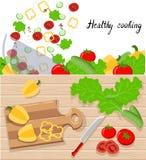 Kulinarny pojęcie Sieć sztandary lub Promocyjni materiały Ilustracyjni w Płaskim projekcie Projektują gotować jarskiego posiłek, Fotografia Royalty Free