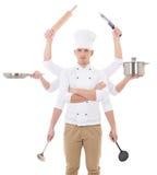 Kulinarny pojęcie - młody człowiek w szefa kuchni mundurze z 8 ręk trzymać Obraz Stock