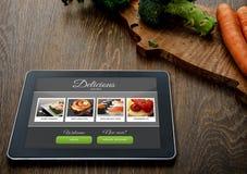 Kulinarny przepis na pastylka komputerze osobistym obraz royalty free