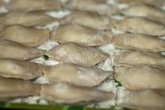 Kulinarny Rosyjski varenyky z wiśniami Obraz Stock