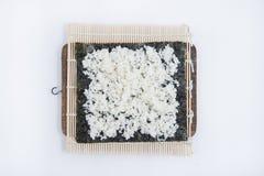 Kulinarny suszi, stawiający ryżu krok Obraz Stock