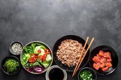 Kulinarny tło potrącenie pucharu składniki obraz stock