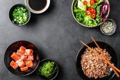 Kulinarny tło potrącenie pucharu składniki obrazy royalty free