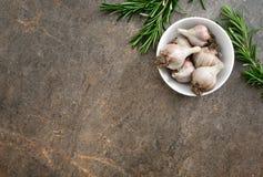 Kulinarny tło z rozmarynami i czosnkiem fotografia royalty free