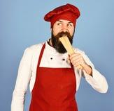 Kulinarny Włoski Karmowy pojęcie Cook z ciekawą twarzą zdjęcia stock