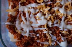 Kulinarny Włoski lasagna w domu Mięso, kumberland, ser i ciasto, obrazy stock