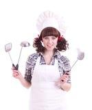 kulinarnych chwytów łyżkowa kobieta Obrazy Royalty Free