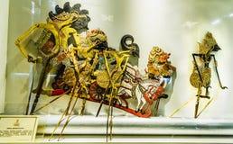 Kulit del wayang del burattino dell'ombra al museo del burattino Caratteri dalla storia di Bharata Yudha Vecchia area di turismo  immagini stock libere da diritti
