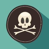 Kull en beenderen/Jolly Roger - plagieer pictogram, zwart etiket, app ontwerpelement, illustratie, vlakte Royalty-vrije Stock Foto's