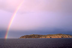 Kullaberg y arco iris Imágenes de archivo libres de regalías