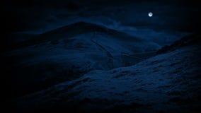 Kullar på natten under fullmånen stock video