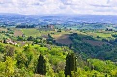 Kullar, vingårdar och cypressträd, Tuscany landskap nära San Gimignano Royaltyfri Fotografi