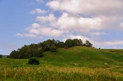Kulle för grönt gräs och molnig himmel Arkivbild