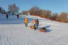 Kulle som glider på rör i vinter Kolomenskoye Moscow Arkivbild