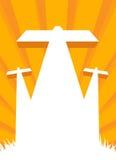 Jesus crucifixion - calvaryplats med arga tre stock illustrationer