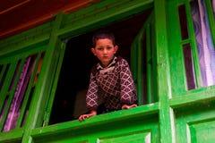 Kullu, Himachal Pradesh, Индия - Feburuary 07, 2019: Портрет гималайского ребенк в горе, sainj стоковые изображения rf