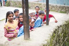 Kullu, Himachal Pradesh, India - August 31, 2018 : Himachali children in village stock photography