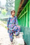 Kullu, Himachal Pradesh, India - August 31, 2018 : Portrait of himachali girl near her house in himalayas stock images