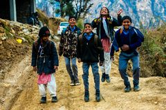 Kullu, Himachal Pradesh, India - March 01, 2019 : Photo of Himalayan kids jumping in Himalaya, Sainj Valley stock photos