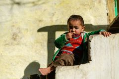 Kullu, Himachal Pradesh, la India - 17 de enero de 2019: Retrato del muchacho en la monta?a, gente Himalayan fotografía de archivo libre de regalías