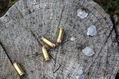 Kulor, ammunitionar och spenderade ledningsspetsar Royaltyfri Bild
