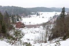 Kulör flod för scenisk vinter i land Arkivbild