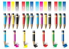 kulöra blyertspennor också vektor för coreldrawillustration Royaltyfria Bilder