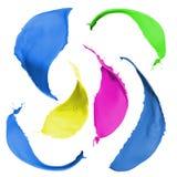 Kulöra målarfärgfärgstänk Arkivbild