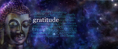 Kultivierung der Dankbarkeits-Meditations-Fahne Stockfotos