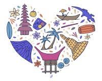 Kultur av Malaysia Hand drog symboler av Malaysia Vektorillu stock illustrationer