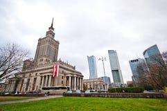 Kultur- och vetenskapsslott, Warszawa, Polen Arkivfoto