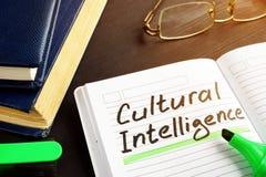 Kulturalna inteligencja ręcznie pisany w nutowym ochraniaczu zdjęcia royalty free