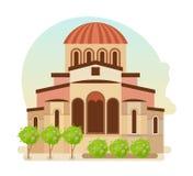 Kulturalny centrum Byzantium, nowożytny średniowieczny miasto Mystra Grecja royalty ilustracja