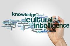 Kulturelles Intelligenzwort-Wolkenkonzept auf grauem Hintergrund Lizenzfreie Stockbilder