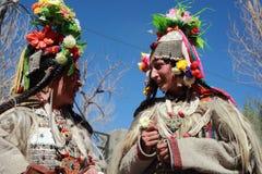Kulturelles procesion während des Ladakh Festivals Stockbilder