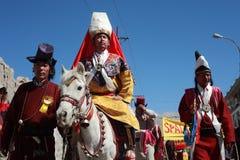 Kulturelles procesion während des Ladakh Festivals Stockfoto