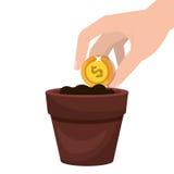 Kultywuje pieniądze w garnku royalty ilustracja